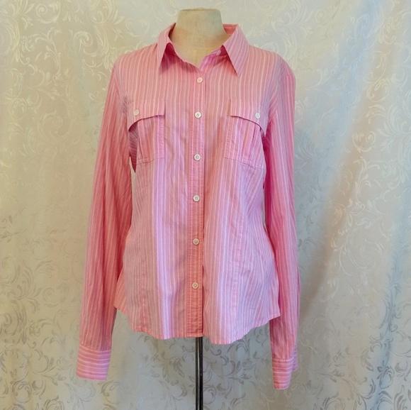 Rafaella Tops - Rafaella Pink Striped Button Down Shirt